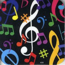 blk bck with colorful music signs